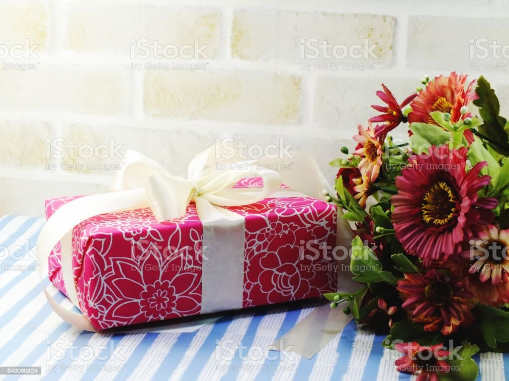 Beautiful Romantic Gift Box And Artificial Flower Bouquet Stock