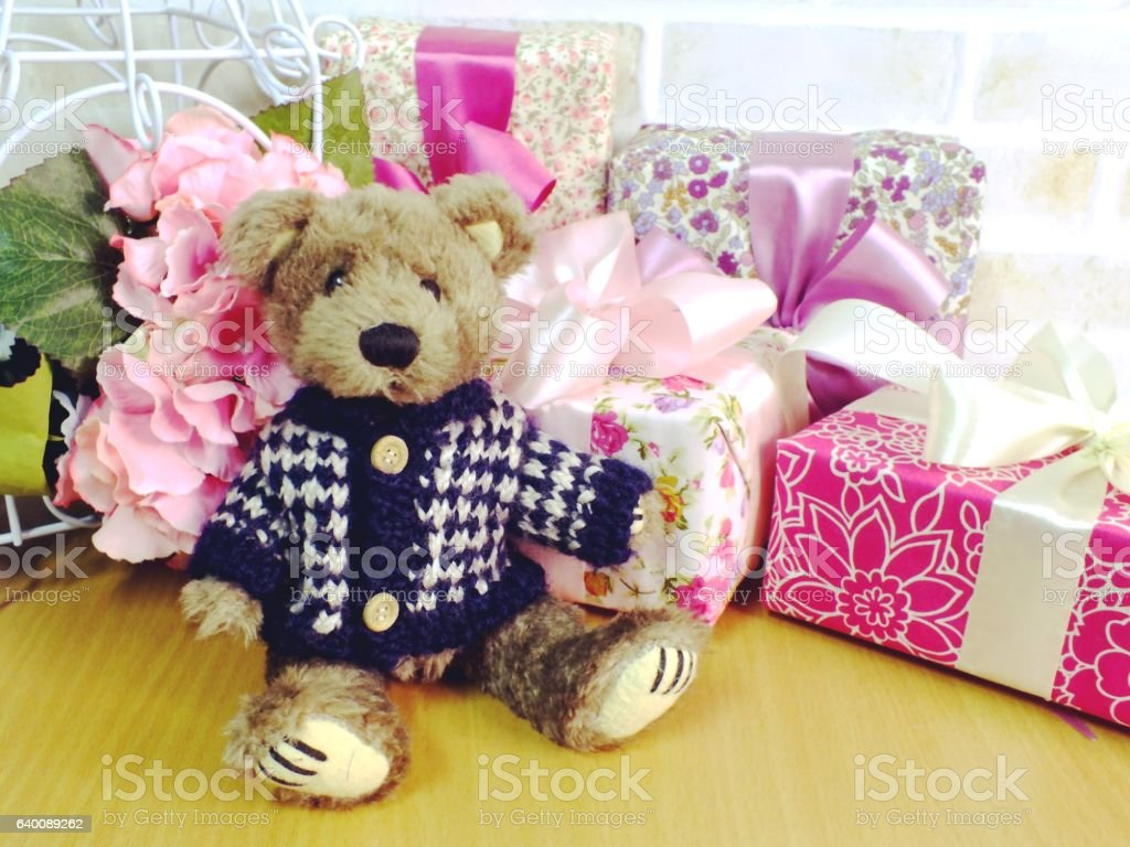 Beautiful Romantic Gift Box With Teddy Bear And Artificial Flowers
