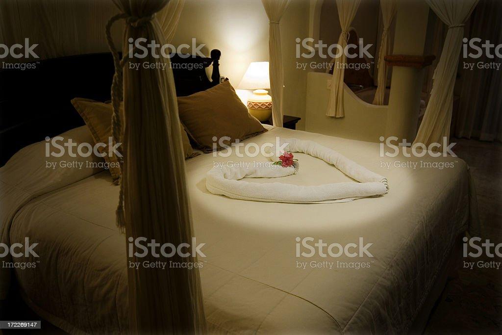 Beautiful Romantic Hotel Suite at Tropical Resort, Copy Space stock photo