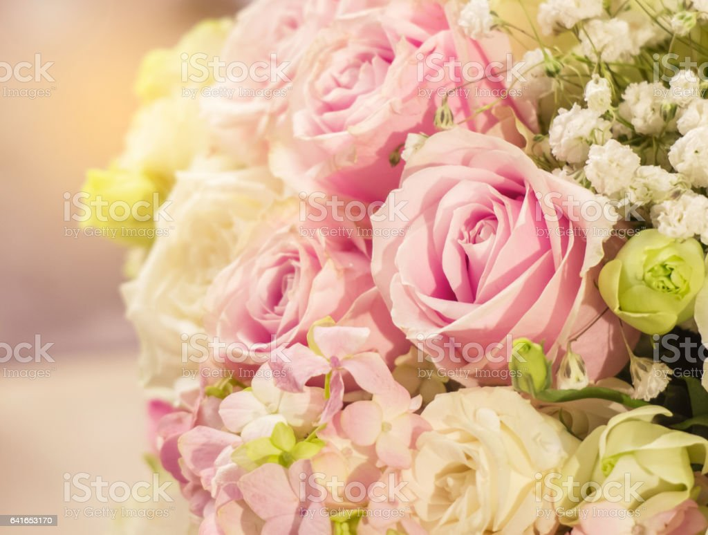 Beautiful Romantic Pink Rose Pattern In The Big Bouquet Of Flowers