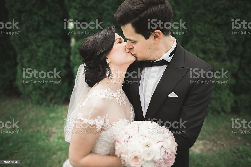 Beautiful Romantic Wedding Couple Of Newlyweds Hugging In Park On Stock Photo Download Image Now Istock
