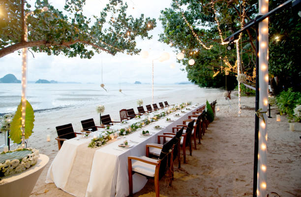 Beautiful romantic wedding Table on tropical beach stock photo