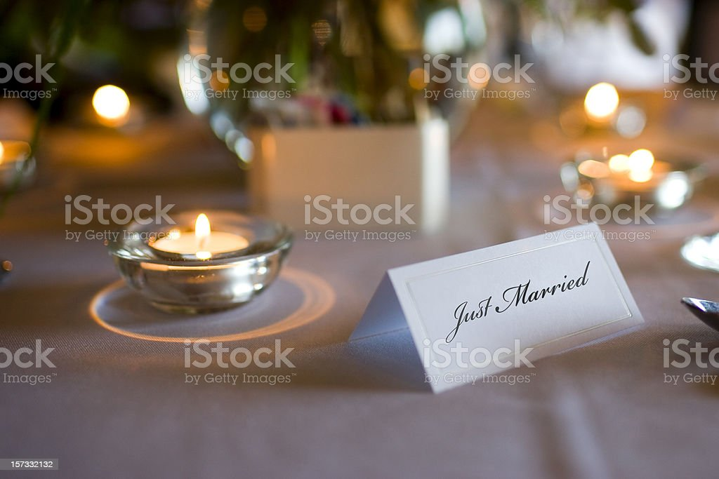 Beautiful Romantic Wedding Table Setting with Just Married Place Card royalty-free stock photo