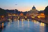 St. Peter's Basilica, Ponte Sant Angelo, Tiber river. Rome, Italy.