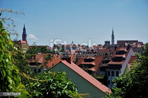 Beautiful roof top view over the medieval old town of Goerlitz, Germany