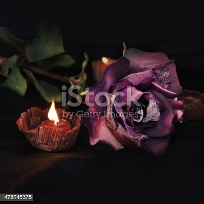 Romantic background. Beautiful rose and candles on black satin.