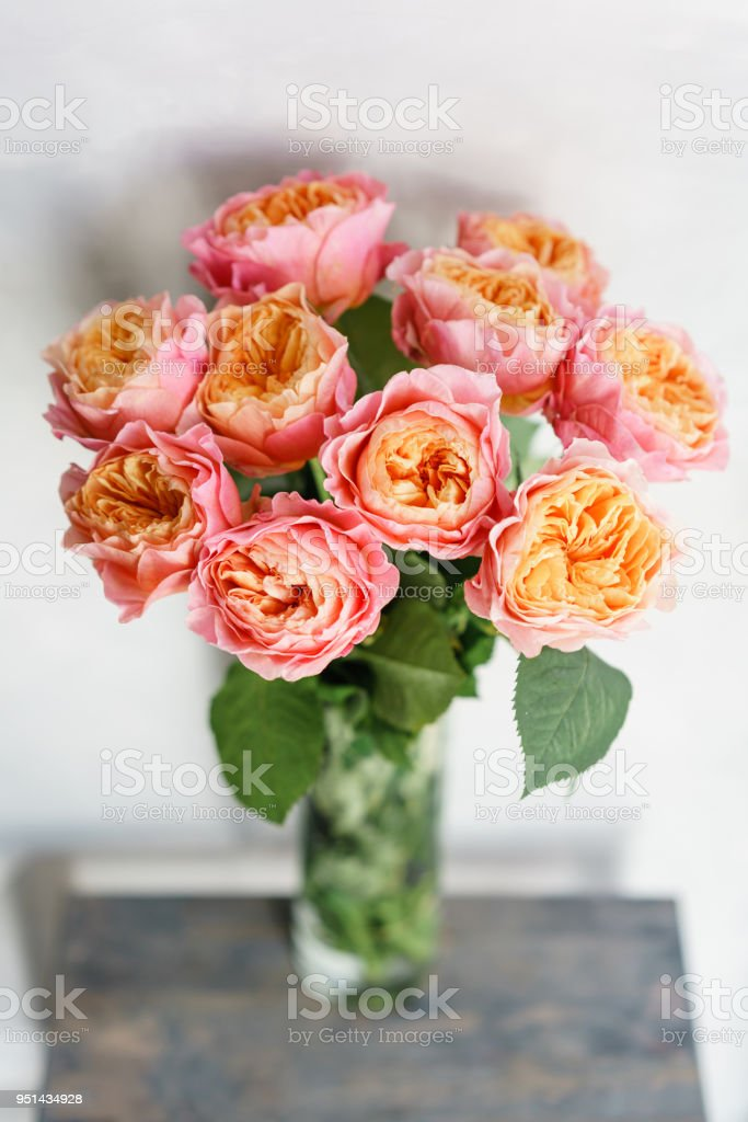 Beautiful Roses Flowers In A Vase On A Table Bouquet Of Pink And