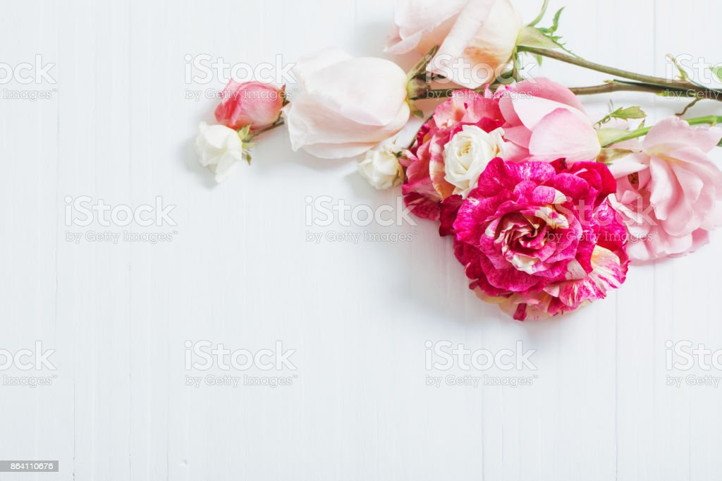 beautiful roses on wooden background royalty-free stock photo