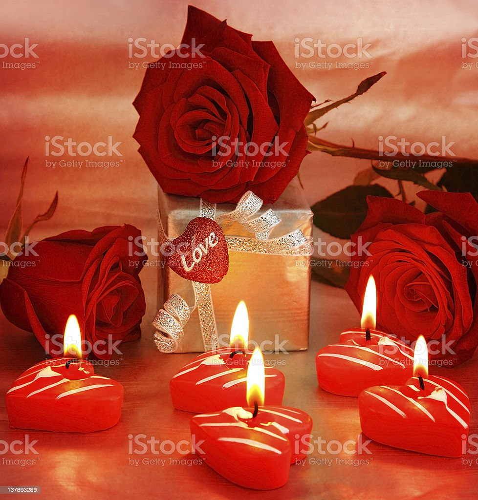 Beautiful roses with gift box & heart royalty-free stock photo