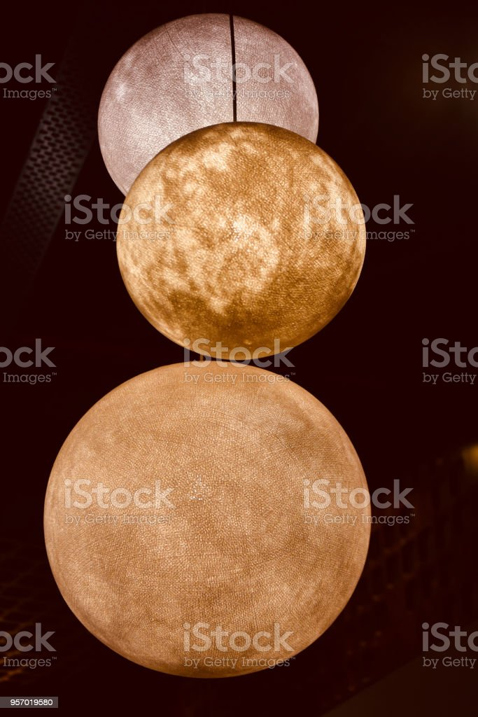 Beautiful round shape interior lights unique photo stock photo