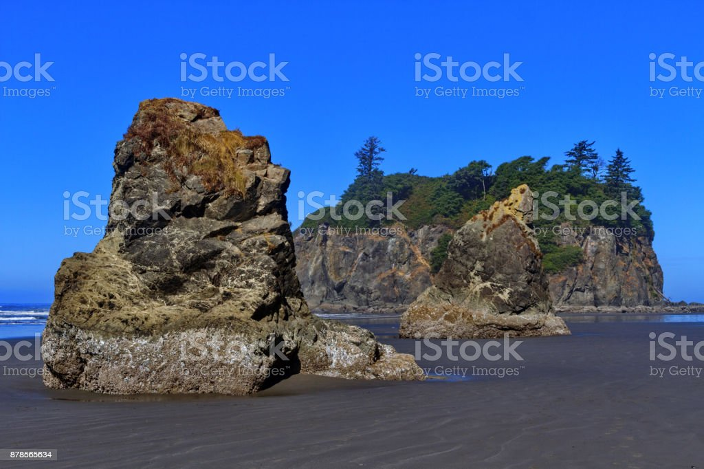Beautiful Ruby Beach with rugged sea stacks in Olympic National Park stock photo