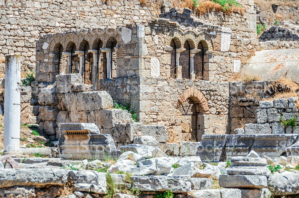 Beautiful ruins of Ancient Corinth in Greece royalty-free stock photo
