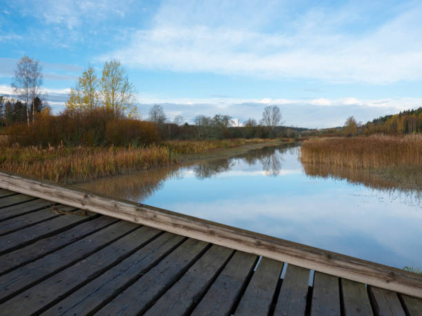 A beautiful rural scene casting reflections on the calm river surface. stock photo