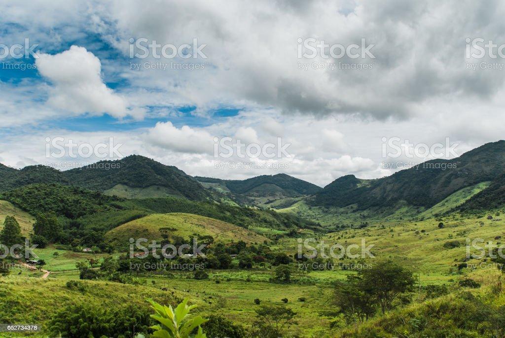 Beautiful rural valley in Belmiro Braga, Minas Gerais, Brazil stock photo