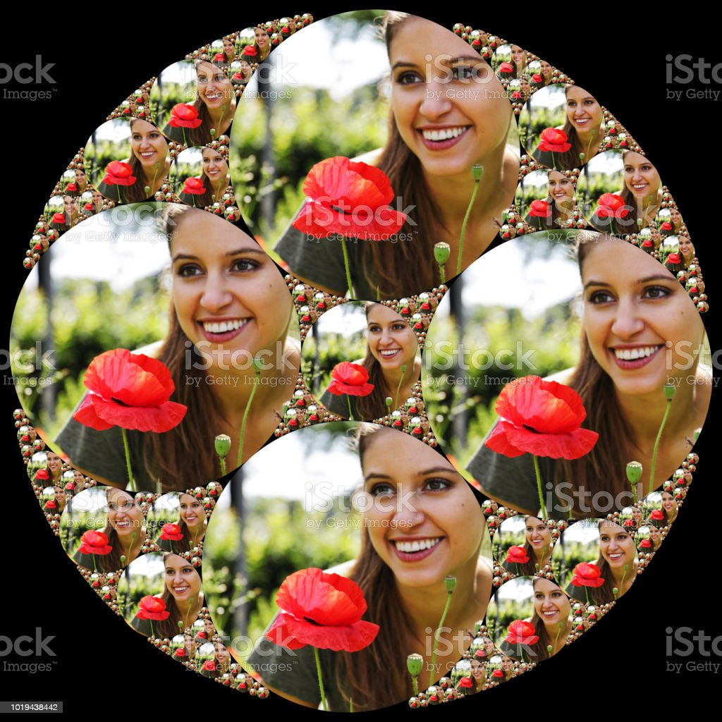 Beautiful Russian outdoor girl model in circles with poppy stock photo