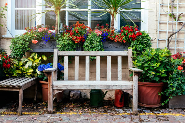 Beautiful rustic house front yard in London stock photo