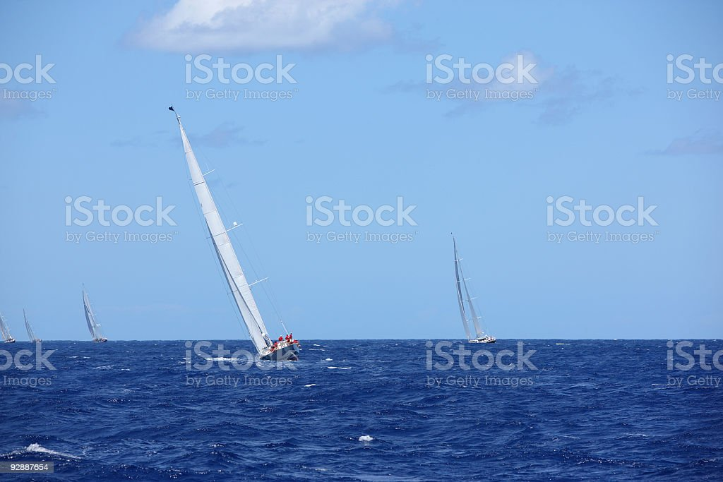 Beautiful sail boat at test run before competition royalty-free stock photo
