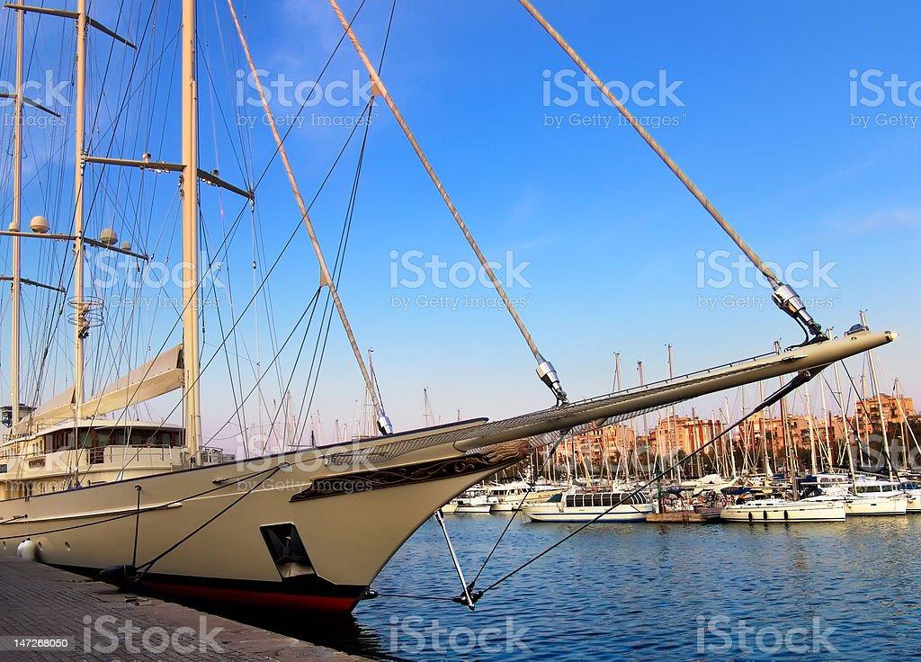 beautiful sailing ship on the dock port royalty-free stock photo