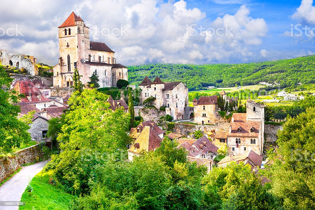 Beautiful Saint-Cirq-Lapopie, France stock photo