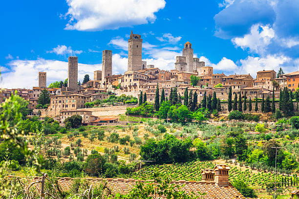 Beautiful San Gimignano,Tuscany,Italy. Impressive Medieval Town,San Gimignano,Tuscany,Italy. florence italy stock pictures, royalty-free photos & images