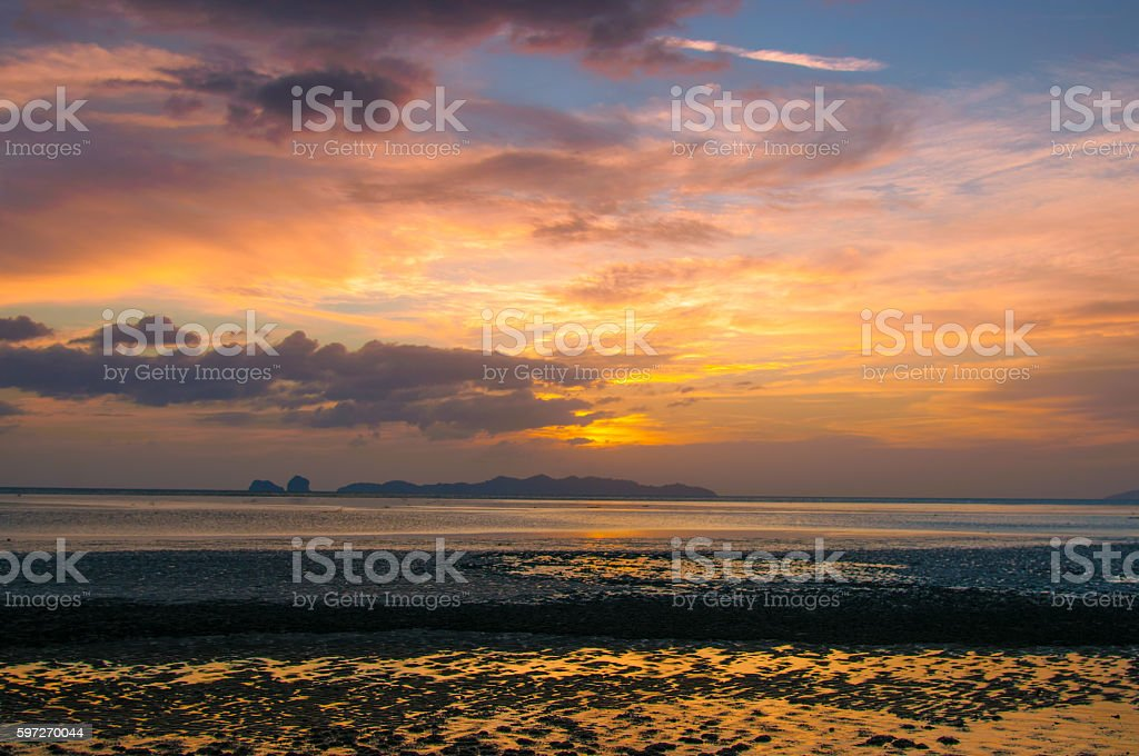 Beautiful sand beach with the sunset  sky. royalty-free stock photo