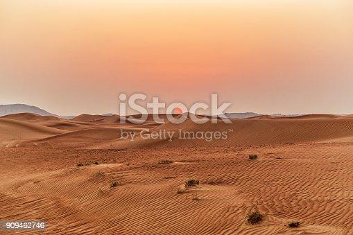 istock Beautiful sand dunes in the desert. 909462746