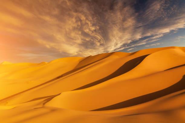schönen sanddünen in der wüste sahara - urlaub in tunesien stock-fotos und bilder