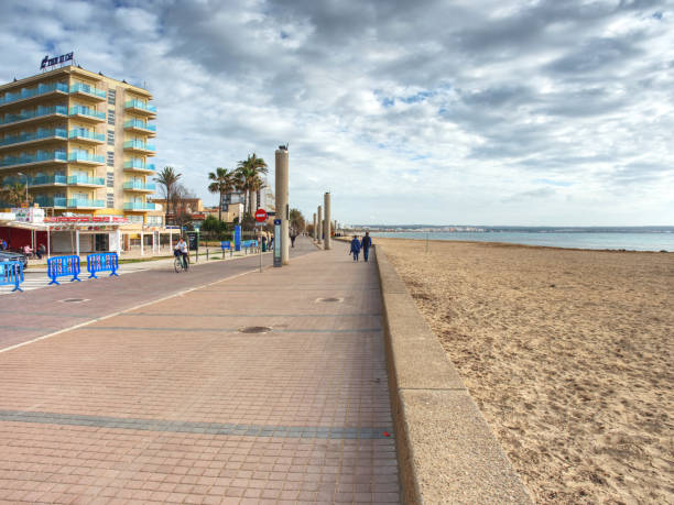 Beautiful sandy beach at Palma de Mallorca stock photo
