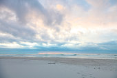 Dramatic sky at sunset on Noordhoek Beach in Cape Town South Africa