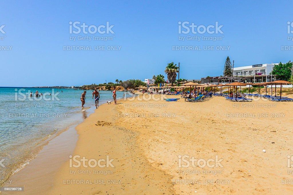 Beautiful sandy beach in Paros, Greece royaltyfri bildbanksbilder