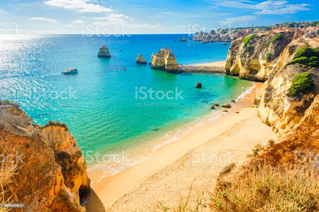 Beautiful sandy beach near Lagos , Algarve, Portugal stock photo