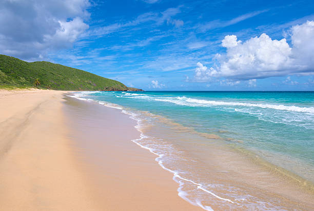 Beautiful sandy Resaca beach on Isla Culebra stock photo