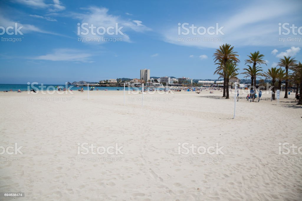 beautiful sandy spanish beach with palm trees on costa blanca on sunny day stock photo