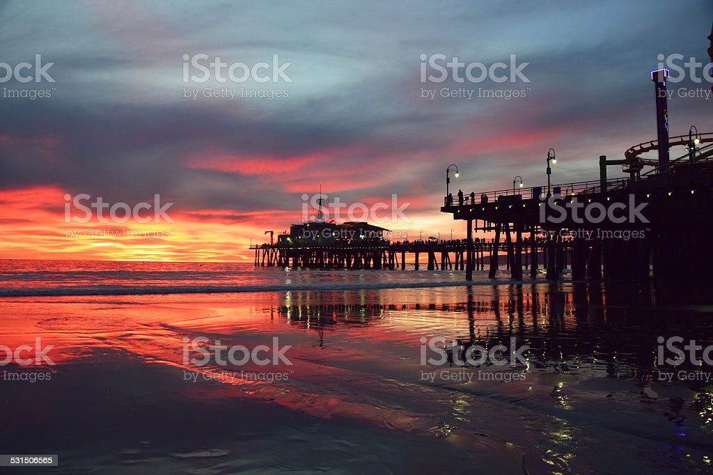 Beautiful Santa Monica Sunset stock photo
