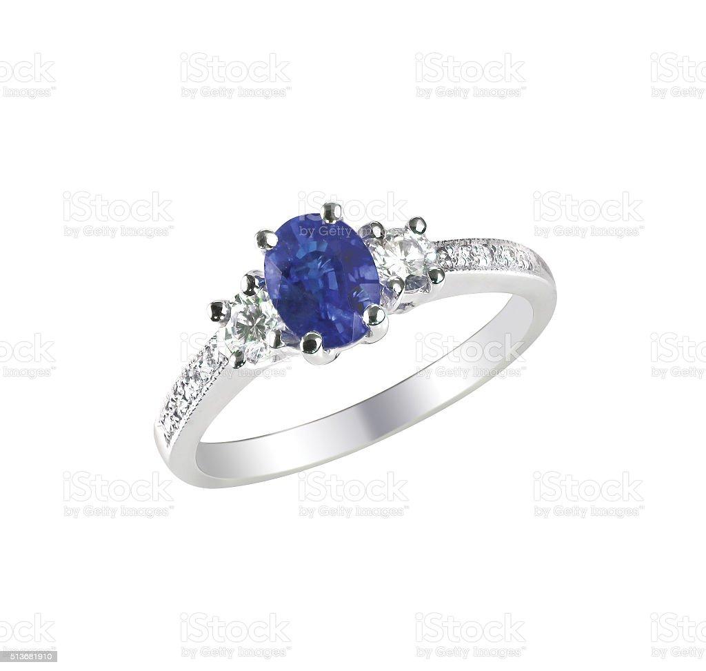 Beautiful sapphire and diamond wedding engagement ring stock photo