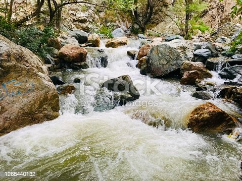 Beautiful scene of mountain river water current and turbulence in Darakeh, a tourist resort and hiking trail in North of Tehran, Iran