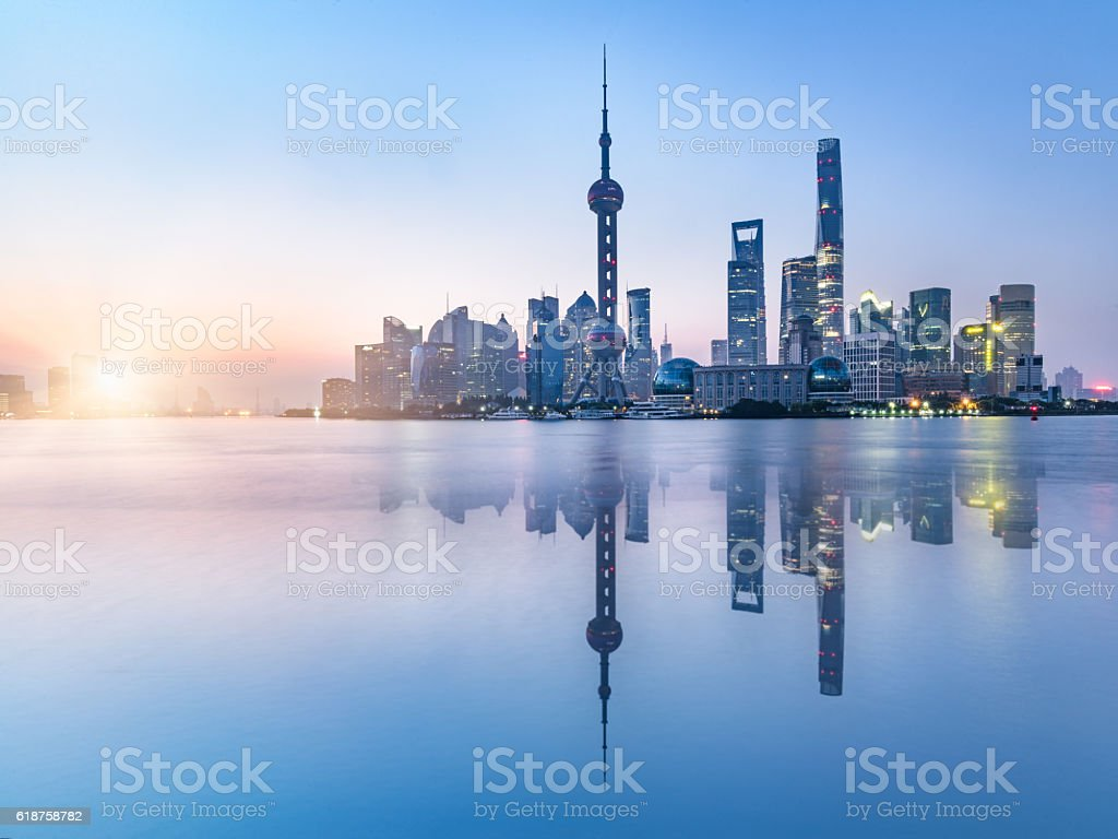 beautiful scene of the bund,shanghai,china stock photo