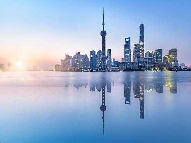 beautiful scene of the bund,shanghai,china stock photo
