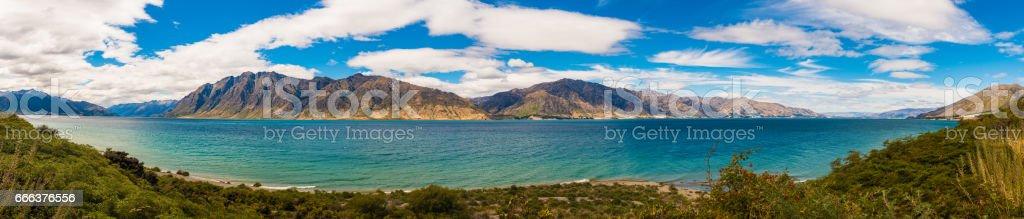 Beautiful scene of the morning lake in South Island, New Zealand stock photo