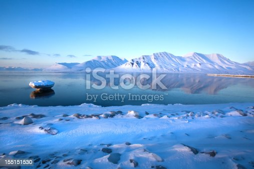 Spitzbergen mountain reflection in  Isfjord, winter landscape, bright weather, image with plenty of copy space.