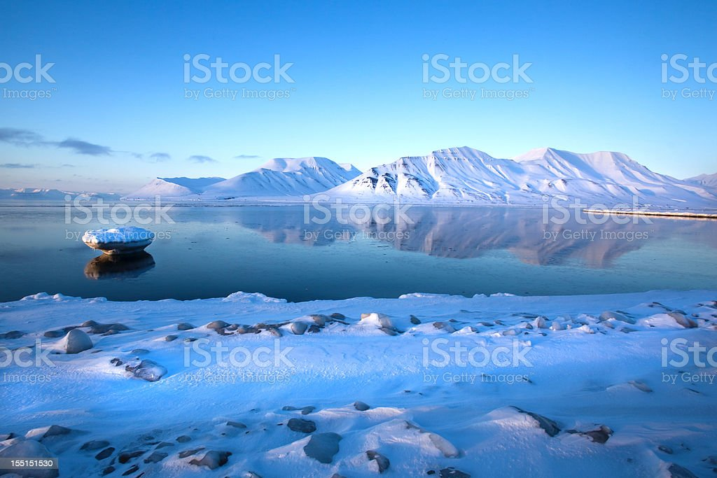 Beautiful scene of the Spitzbergen Mountains in Isfjord stock photo