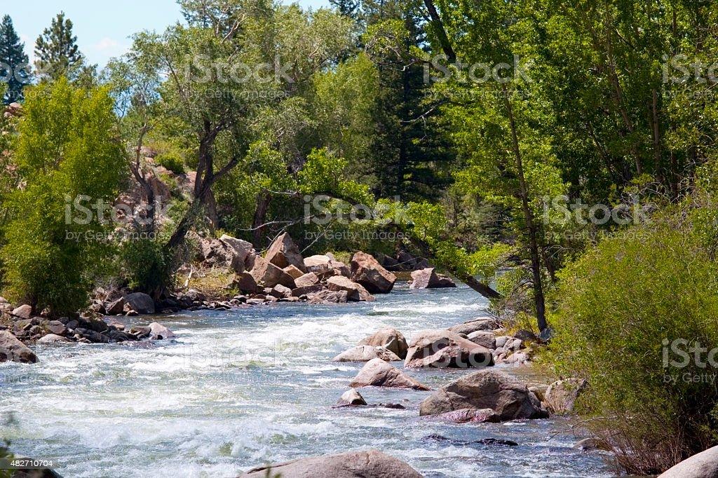 Beautiful scene on the Arkansas River in Colorado stock photo