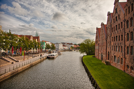 Beautiful scenery and waterways in Lubeck, Germany