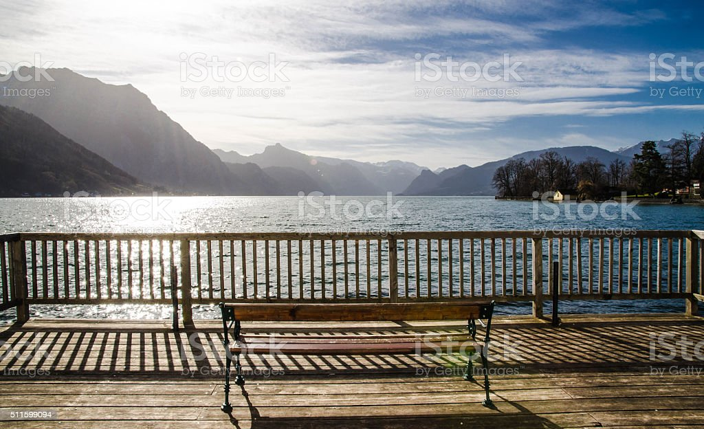 Beautiful scenery at Lake Traunsee in Gmunden stock photo
