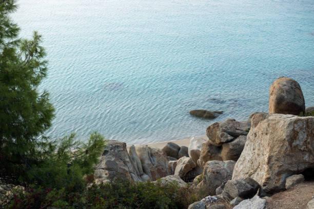 Beautiful scenery by the sea in Koviou beach, Sithonia, Halkidiki, Greece stock photo