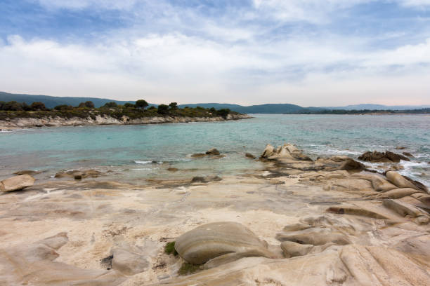 Beautiful scenery by the sea in Vourvourou, Sithonia, Halkidiki, Greece stock photo