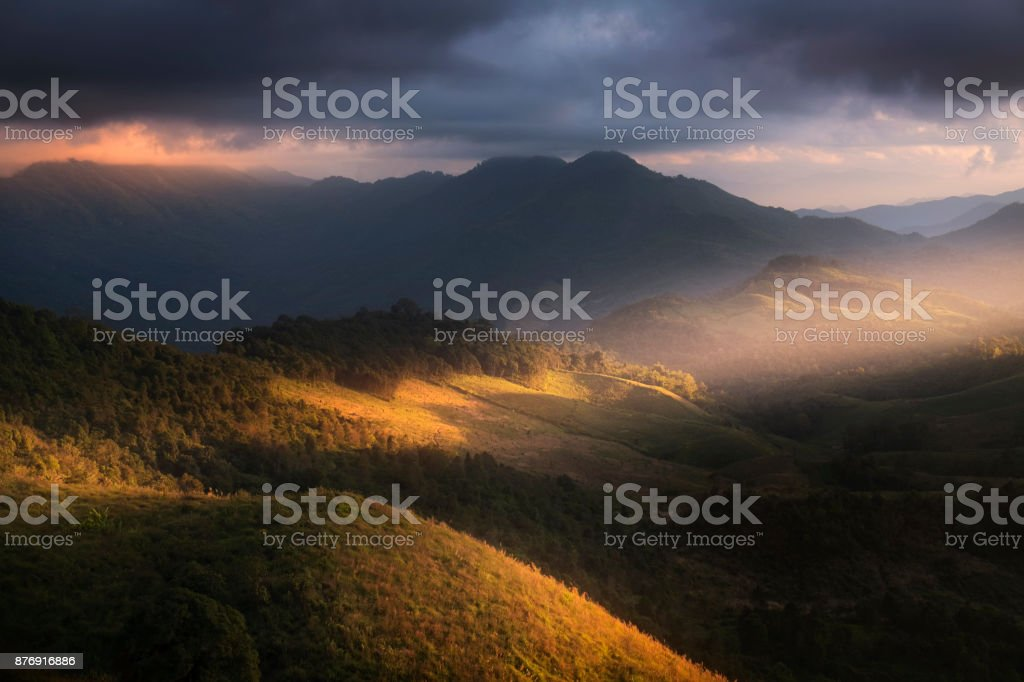 Beautiful scenery during time the sunset view on the top of Doi Pha Phung at Nan province in Thailand is a very popular for photographers and tourists. Attractions and natural Concept stock photo