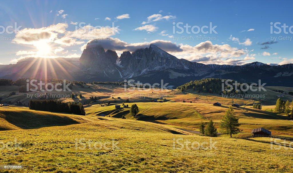 Beautiful Scenery from Alpe di Siusi. stock photo