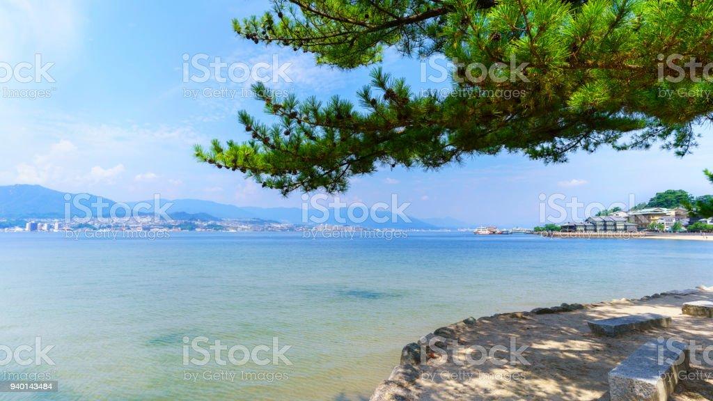 Beautiful scenery from Miyajima island viewing Miyajimaguchi and inland sea stock photo