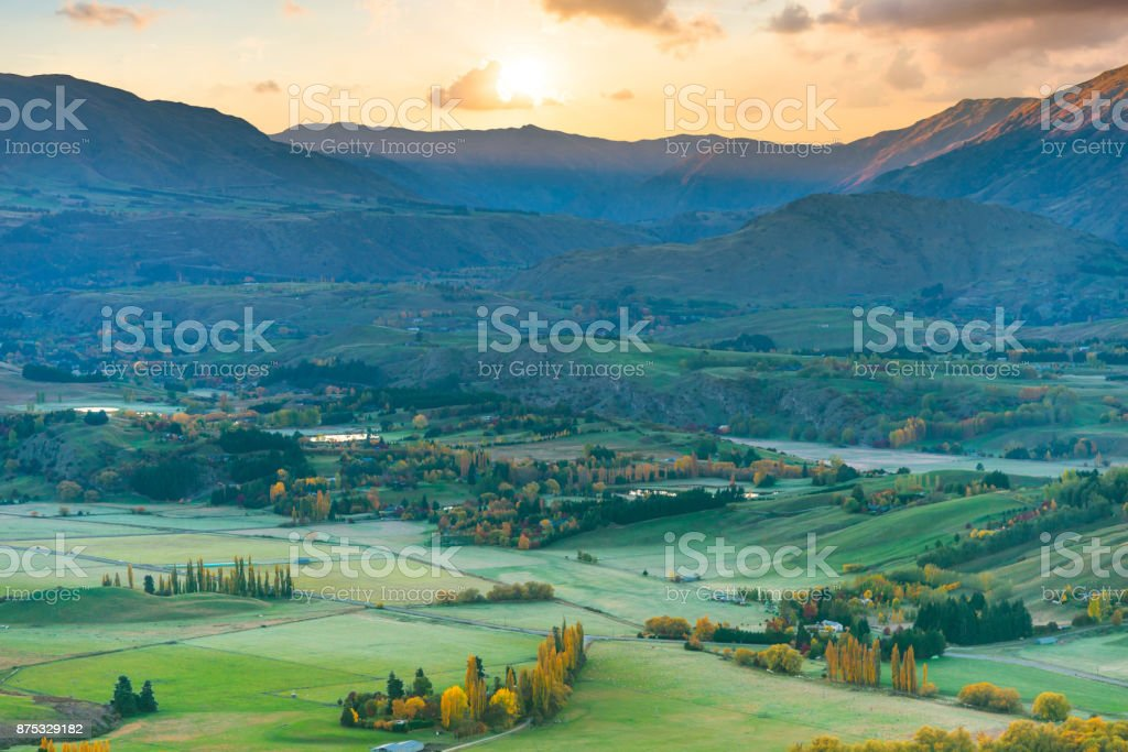 Beautiful scenery landscape of the Matheson Lake Fox Glacier town Southern Alps Mountain Valleys New Zealand stock photo